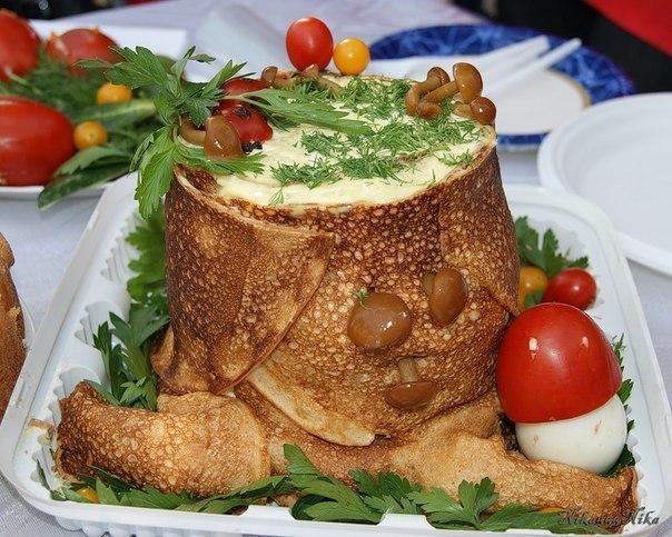 Салат пенек рецепт пошаговый с блинами